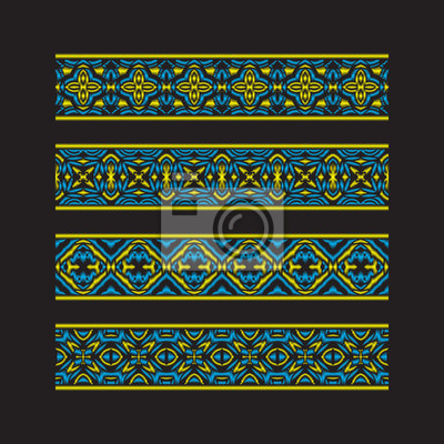 Set of colored ribbon patterns. Yellow blue traditional ornaments for embroidery or frame design.
