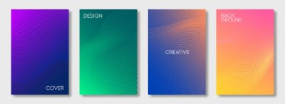 Bild Set of colorful cover design templates. Abstract futuristic geometric pattern with wavy lines for banner, posters, and wallpaper. Vector