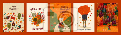 Bild Set of cute autumn illustrations. Vector templates for card, poster, flyer, cover and other use.