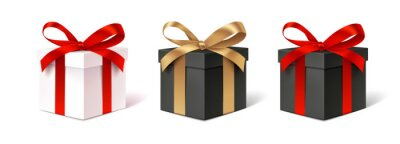 Bild Set of decorative gift boxes isolated on white. Holiday decoration. Black friday sale collection.