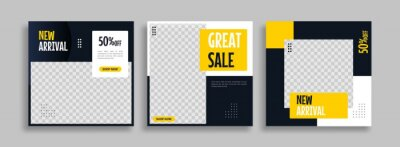 Bild Set of Editable minimal square banner template. Blue yellow white background color with geometric shapes for social media post, story and web internet ads. Vector illustration