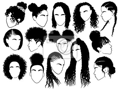 Bild Set of female afro hairstyles. Collection of dreads and afro braids for a girl. Black and white illustration for a hairdrymaker.
