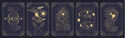 Bild Set of five mystery cards in black and gold with intricate designs over a black background, colored vector illustration