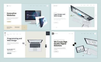 Bild Set of flat design web page templates of web and logo design, programming, startup, business services. Modern vector illustration concepts for website and mobile website development.