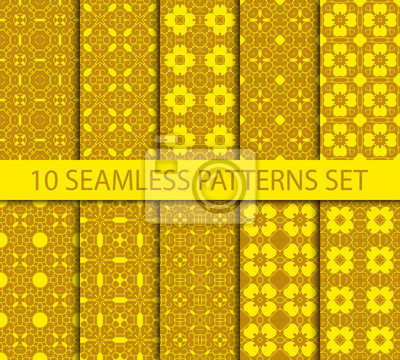 Bild Set of geometric seamless patterns. Ten vintage unrepeatable ornaments with Swatch for filling.