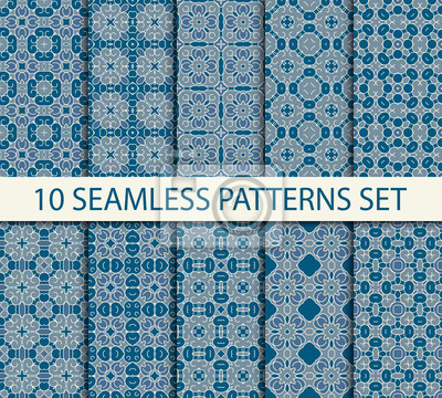 Set of geometric seamless patterns. Ten vintage unrepeatable ornaments with Swatch for filling.