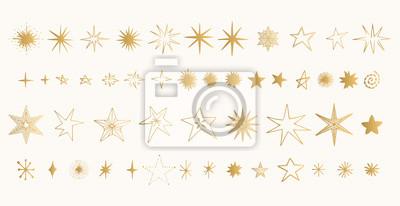 Bild Set of golden stars. Glitter shapes. Vector.