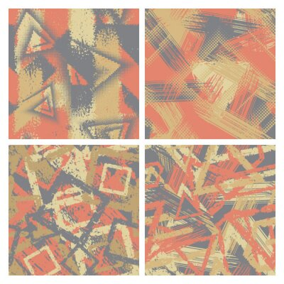Set of grunge camouflage seamless pattern. Abstract chaotic vector backgrounds. Modern military texture.