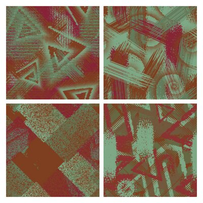 Set of grunge camouflage seamless pattern. Abstract chaotic vector backgrounds with shabby paint effect.