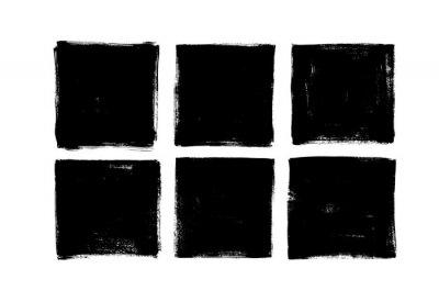 Bild Set of grunge square template backgrounds. Vector black painted squares or rectangular shapes.