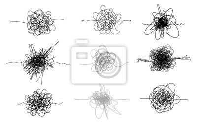 Bild Set of hand drawn scrawl sketch. Freehand drawing. Black and white and color abstract scribbles, chaos doodles. Vector illustration. Isolated on white background.