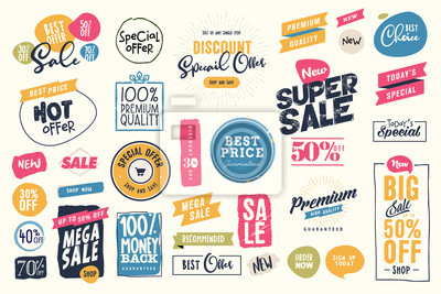 Bild Set of labels and stickers for sale, product promotion, special offer, shopping, e-commerce. Isolated vector illustrations for web design and marketing material.