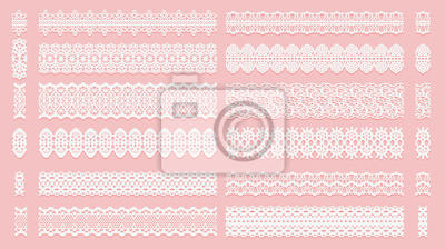 Bild Set of lace pattern brushes. Tracery ribbons isolated on a pink background. Elements for decor scrapbooking wedding invitations and cards.