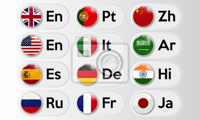 Bild Set of language buttons with national flags. Vector illustration.