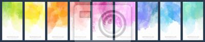 Bild Set of light colorful vector watercolor vertical backgrounds for poster, banner or flyer