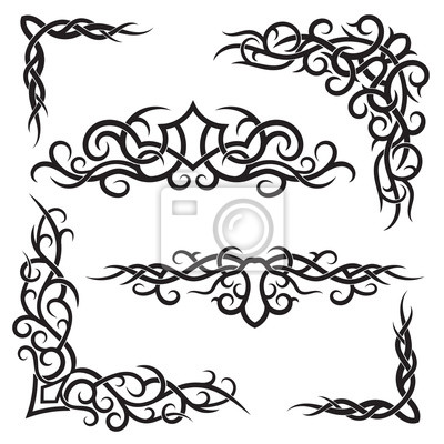 Set of lines vector decorative elements for design. Tribal tattoo in floral style.