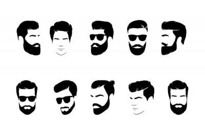 Bild Set of man  hair icon for barbershop. Vector illustration