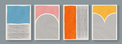 Bild Set of minimal geometric posters. Mid-Century Modern Art with Watercolor Shapes. Trendy artistic abstract background.