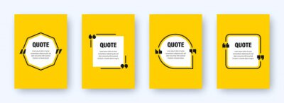 Bild Set of modern yellow banners with quote frames. Speech bubbles with quotation marks. Blank text box and quotes. Blog post template. Vector illustration.
