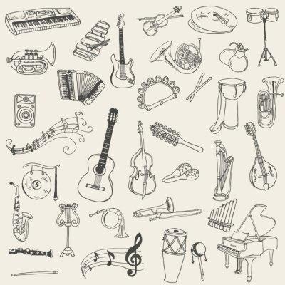 Bild Set of Music Instruments - Hand gezeichnet in Vektor