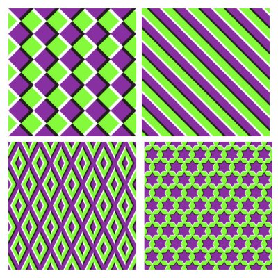 Set of purple green optical illusion seamless patterns of moving squares, diagonal stripes, rhombuses and six pointed stars.