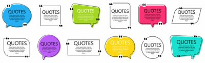 Bild Set of quote frames. Speech bubbles with quotation marks, isolated on white background. Blank text box and quotes. Blog post template. Vector illustration.