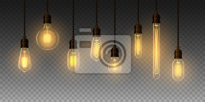 Bild Set of realistic glowing lamp hanging on the wire. Incandescent lamp. Vector