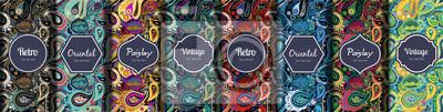 Bild Set of seamless patterns in vintage paisley style.