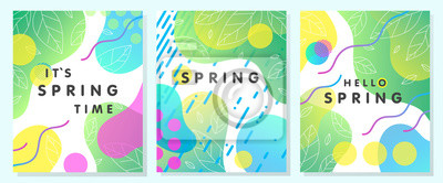 Bild Set of unique spring cards with bright gradient backgrounds,tiny leaves,fluid shapes and geometric elements in memphis style.Abstract layouts perfect for prints,flyers,banners,invitations,covers.