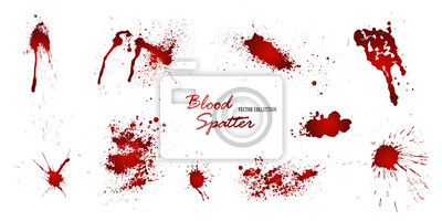 Bild Set of various blood or paint splatters isolated on white background. Happy Halloween decoration,horrible blood drops, creepy splash, spot.Vector illustration