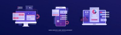Bild Set of vector illustrations on the theme of web design and development. Smartphone, laptop, and monitor with interface elements on a blue background. Mobile app development concept.