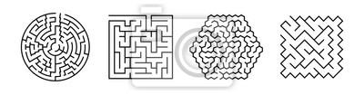 Bild Set Of Vector Mazes. Geometric Outline Labyrinth Illustrations