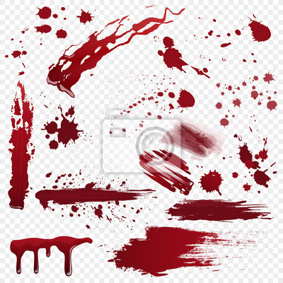 Bild Set of vector various realistic detailed bloodstain, blood or paint splatters isolated on the alpha transperant background.