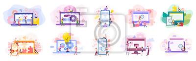 Bild Set of website development banner. Web page programming