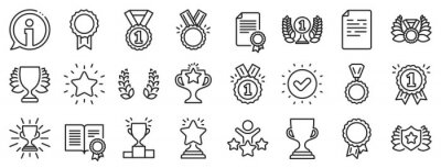 Bild Set of Winner medal, Victory cup and Laurel wreath award icons. Award line icons. Reward, Certificate and Diploma message. Glory shield, Prize winner, rank star, diploma certificate. Vector