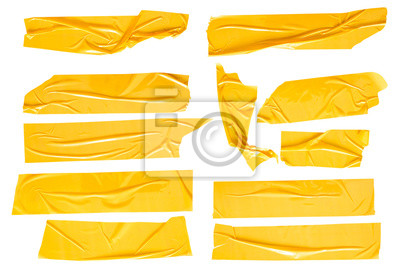 Bild Set of yellow tapes on white background. Torn horizontal and different size yellow sticky tape, adhesive pieces.