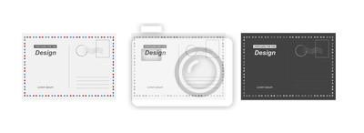 Bild Set Vektor Postkarte. Postkarte für Reise. Vorlagenentwurf für Ihre Karten.