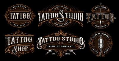 Bild Set Vintage Tattoo Embleme (VERSION FÜR DUNKLEN HINTERGRUND)