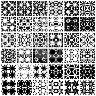 Set von 36 monochrome nahtlose Muster.