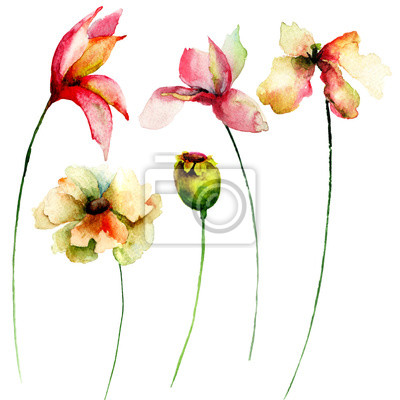Set von Aquarell Blumen