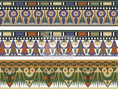 Bild Set von drei ägyptischen Grenze, Vektor-Illustration