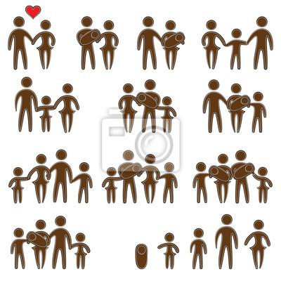 Set von Familienmitgliedern Symbole. Vector flachen Schaltplansymbole für Web-Design.