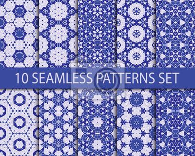 Set von geometrischen Mustern nahtlose. Zehn stilvolle Vintage Ornamente mit Swatch zum Füllen.