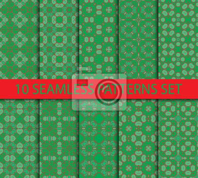 Set von geometrischen Mustern nahtlose. Zehn vintage unwiederholbar Ornamente mit Swatch zum Füllen.