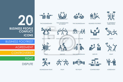 Bild Set von Geschäftsleuten Konflikt Symbole