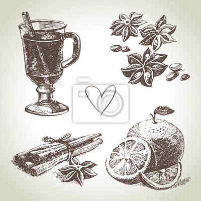 Set von Glühwein, Früchten und Gewürzen, von Hand gezeichnete Illustrationen