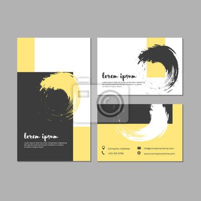 Set Von Grunge Visitenkarten Mit Geometrischen Formen Und