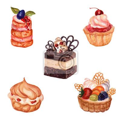 Set Von Hand Gezeichnet Kuchen Mit Aquarell Textur Kuchen Mit