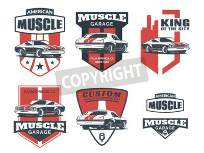 Bild Set von klassischen Muskelauto-Symbol, Embleme, Abzeichen und Icons isoliert auf weißem Hintergrund. Service Autoreparatur, Auto Restaurierung und Car Club Design-Elemente.