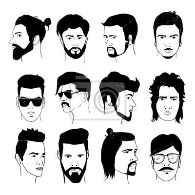 Set Von Manner Frisur Mit Barte Und Schnurrbart Sammlung Von